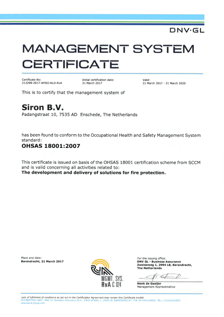 siron-fire-protection-dnv-gl-certificate-ohsas-18001-2007